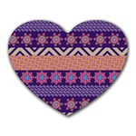 Colorful Winter Pattern Heart Mousepads Front