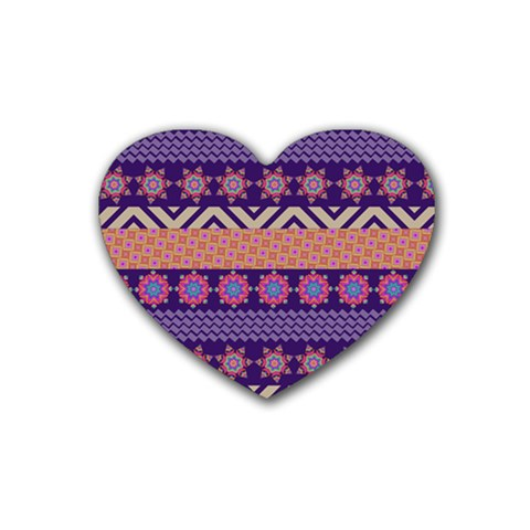 Colorful Winter Pattern Rubber Coaster (Heart)