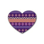 Colorful Winter Pattern Rubber Coaster (Heart)  Front