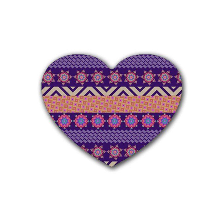 Colorful Winter Pattern Heart Coaster (4 pack)