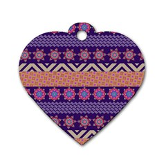 Colorful Winter Pattern Dog Tag Heart (one Side)