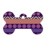 Colorful Winter Pattern Dog Tag Bone (Two Sides) Front
