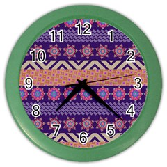 Colorful Winter Pattern Color Wall Clocks