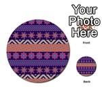 Colorful Winter Pattern Multi-purpose Cards (Round)  Front 25