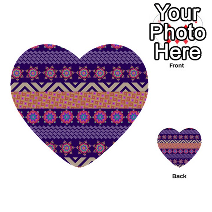 Colorful Winter Pattern Multi-purpose Cards (Heart)