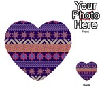 Colorful Winter Pattern Multi-purpose Cards (Heart)  Back 1