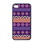 Colorful Winter Pattern Apple iPhone 4 Case (Black) Front