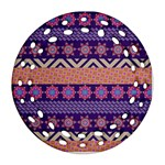 Colorful Winter Pattern Round Filigree Ornament (2Side) Front