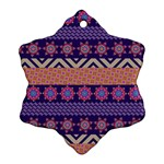 Colorful Winter Pattern Snowflake Ornament (2-Side) Back