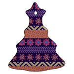 Colorful Winter Pattern Christmas Tree Ornament (2 Sides) Back