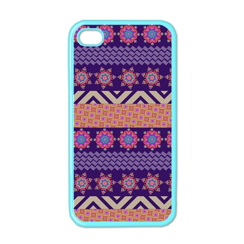 Colorful Winter Pattern Apple iPhone 4 Case (Color)