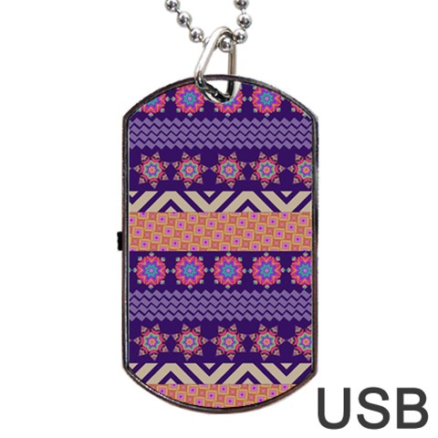 Colorful Winter Pattern Dog Tag USB Flash (One Side)