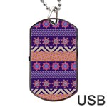Colorful Winter Pattern Dog Tag USB Flash (One Side) Front