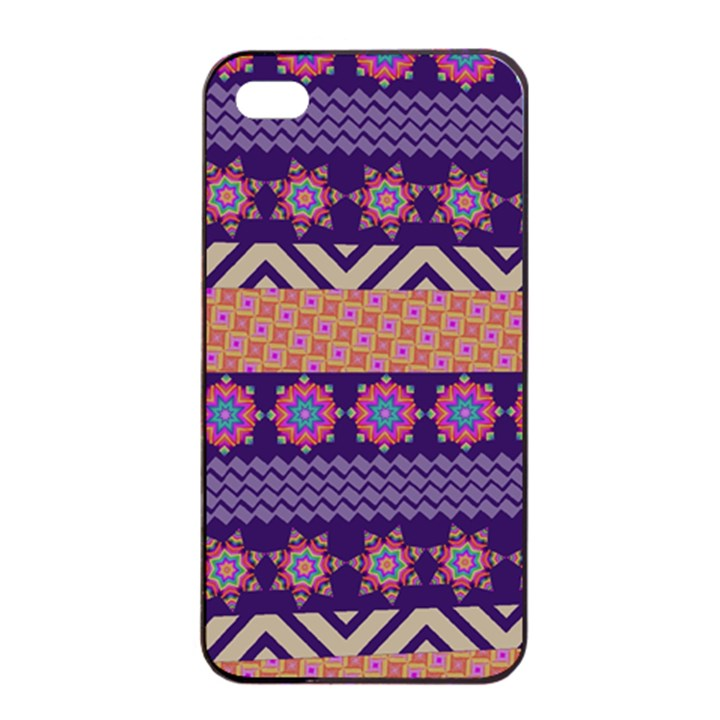 Colorful Winter Pattern Apple iPhone 4/4s Seamless Case (Black)