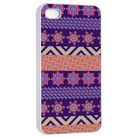 Colorful Winter Pattern Apple iPhone 4/4s Seamless Case (White)