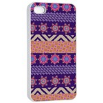 Colorful Winter Pattern Apple iPhone 4/4s Seamless Case (White) Front