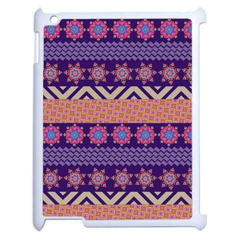 Colorful Winter Pattern Apple iPad 2 Case (White)