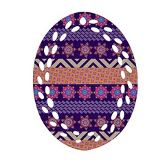 Colorful Winter Pattern Ornament (oval Filigree)