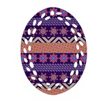 Colorful Winter Pattern Oval Filigree Ornament (2-Side)  Front