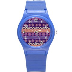 Colorful Winter Pattern Round Plastic Sport Watch (s)