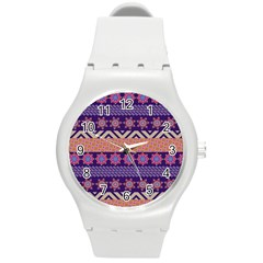 Colorful Winter Pattern Round Plastic Sport Watch (M)