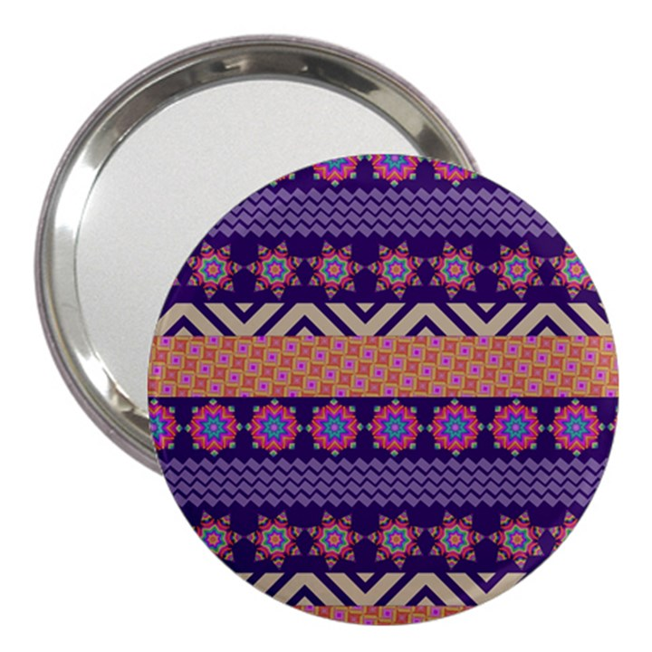 Colorful Winter Pattern 3  Handbag Mirrors