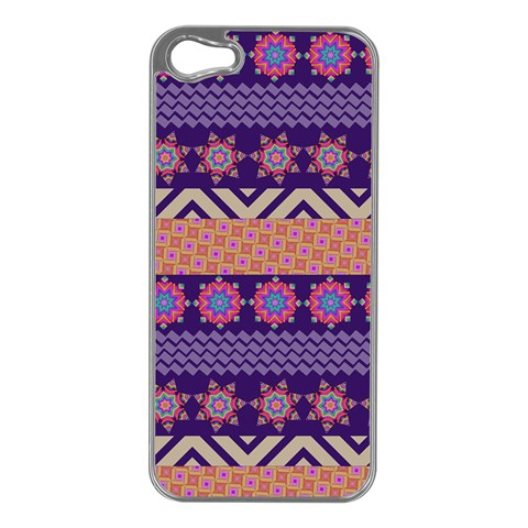 Colorful Winter Pattern Apple iPhone 5 Case (Silver)
