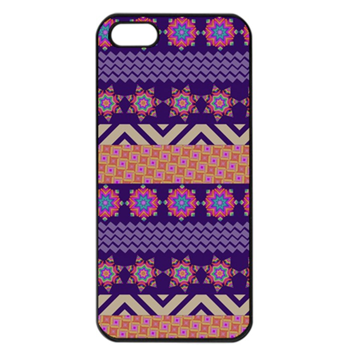Colorful Winter Pattern Apple iPhone 5 Seamless Case (Black)