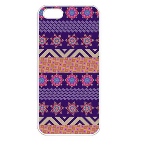 Colorful Winter Pattern Apple iPhone 5 Seamless Case (White)