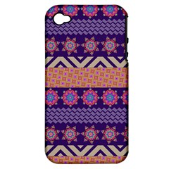 Colorful Winter Pattern Apple iPhone 4/4S Hardshell Case (PC+Silicone)