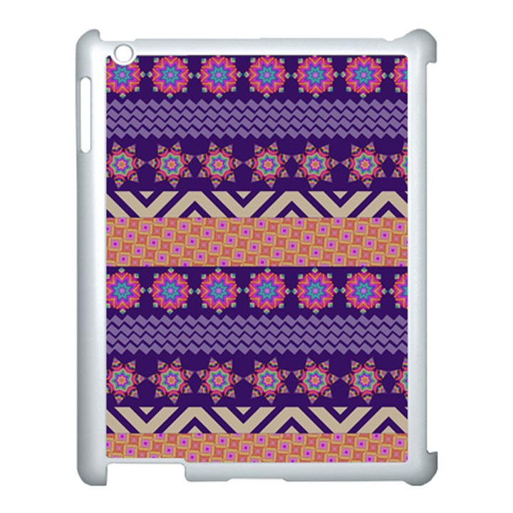 Colorful Winter Pattern Apple iPad 3/4 Case (White)