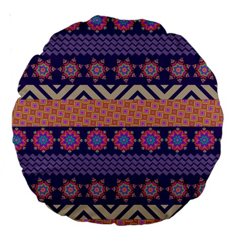 Colorful Winter Pattern Large 18  Premium Round Cushions