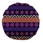 Colorful Winter Pattern Large 18  Premium Round Cushions Back