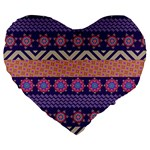 Colorful Winter Pattern Large 19  Premium Heart Shape Cushions Front