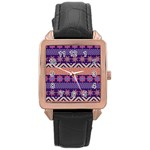Colorful Winter Pattern Rose Gold Leather Watch  Front