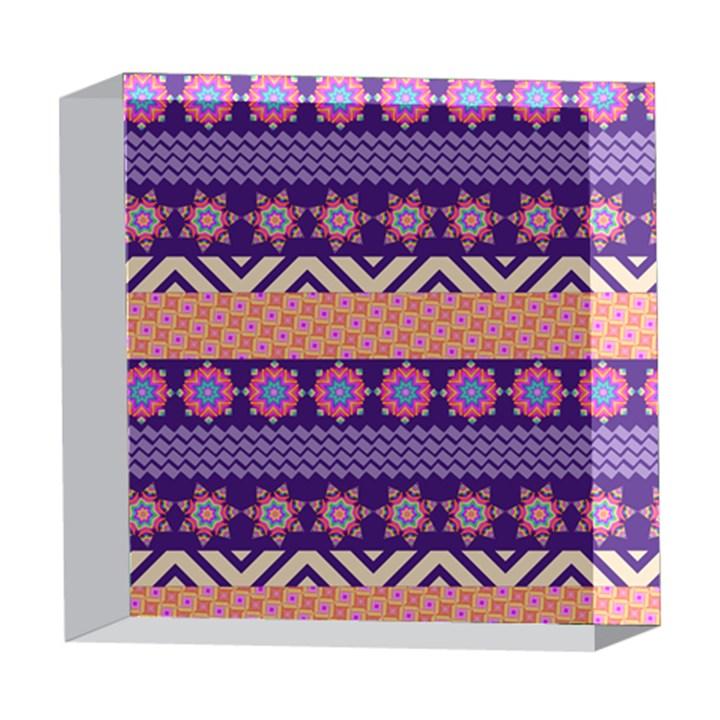 Colorful Winter Pattern 5  x 5  Acrylic Photo Blocks