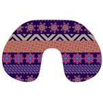 Colorful Winter Pattern Travel Neck Pillows Back