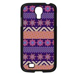 Colorful Winter Pattern Samsung Galaxy S4 I9500/ I9505 Case (Black) Front
