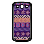 Colorful Winter Pattern Samsung Galaxy S3 Back Case (Black) Front