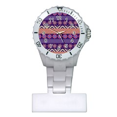 Colorful Winter Pattern Plastic Nurses Watch