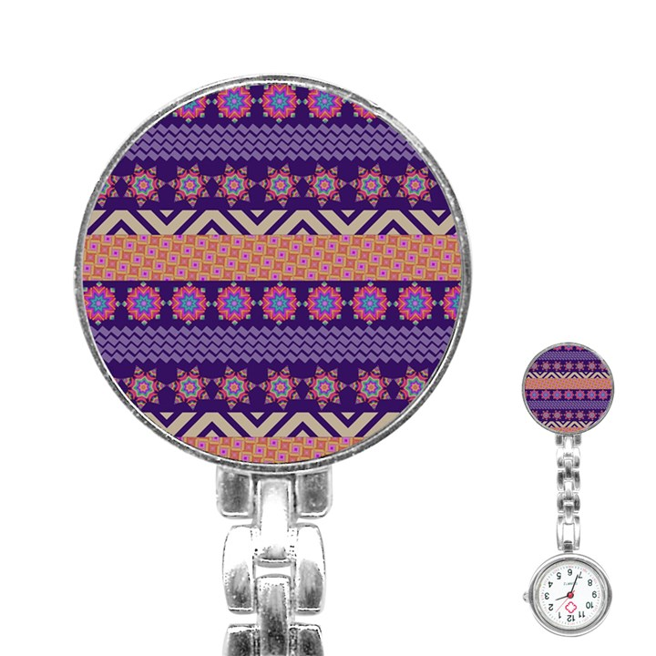 Colorful Winter Pattern Stainless Steel Nurses Watch