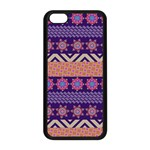 Colorful Winter Pattern Apple iPhone 5C Seamless Case (Black) Front