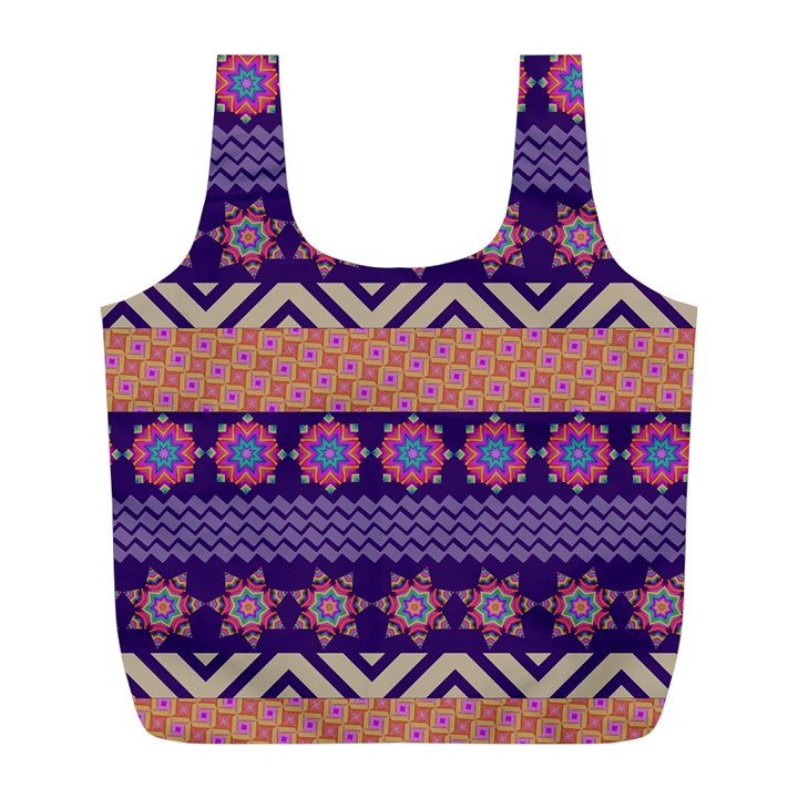 Colorful Winter Pattern Full Print Recycle Bags (L)
