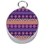 Colorful Winter Pattern Silver Compasses Front