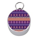 Colorful Winter Pattern Mini Silver Compasses Front