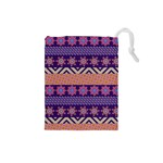 Colorful Winter Pattern Drawstring Pouches (Small)  Front