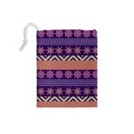 Colorful Winter Pattern Drawstring Pouches (Small)  Back