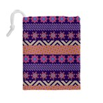 Colorful Winter Pattern Drawstring Pouches (Large)  Back