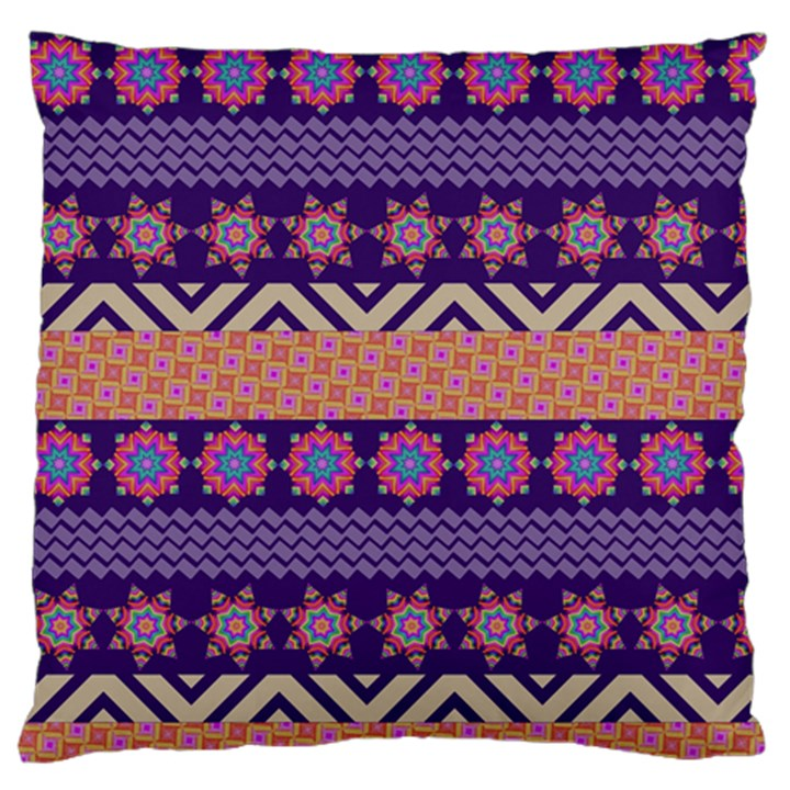 Colorful Winter Pattern Large Flano Cushion Case (Two Sides)