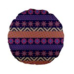 Colorful Winter Pattern Standard 15  Premium Flano Round Cushions Back